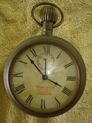 Vintage Thomas & Ross Brass Pocket Watch Alarm Wall Clock Store Trade Display
