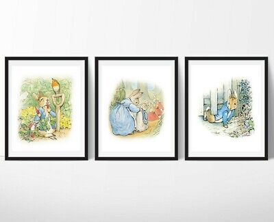 3 Peter Rabbit Nursery Prints Beatrix Potter Wall Art Decor Pictures Baby Gift
