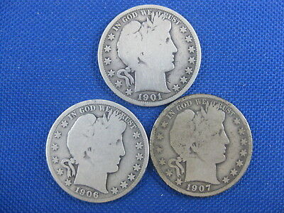 Lot Of 3 Us Barber Half Dollar 50 Cent Coins 1901 1906 S 1907 D