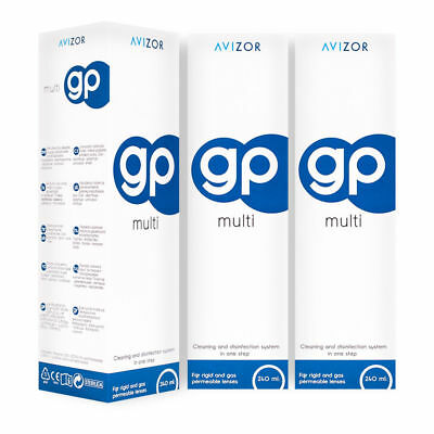 Avizor GP Multi Contact Lens Disinfecting Solution 3 Months Supply 3x 240ml BNWT