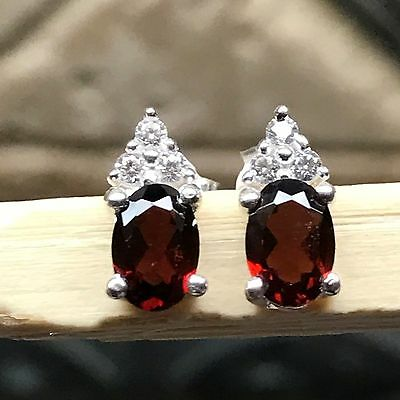 Genuine 2ct Garnet White Sapphire 925 Solid Sterling Silver Stud Earrings 9mm