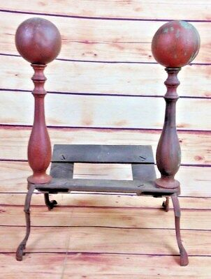Antique Vintage Cannonball Type Fireplace Andirons w insert Cast Iron Decorative