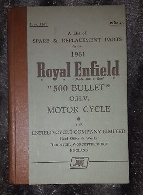 Spare & Replacement Parts For 1961 Royal Enfield 500 Bullet O.H.V. Motor Cycle