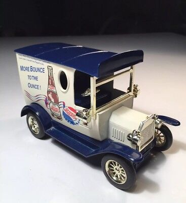Pepsi-Cola 1929 Ford Delivery Truck Metal Coin Bank, Golden Wheels 1:25