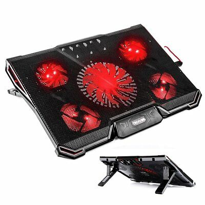 """TechVibe Laptop Cooling Pad For 12""""-17"""" Laptops, Gaming Cooling Pad 5 Quiet Fans"""