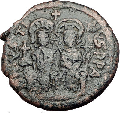 JUSTIN II & SOPHIA 565AD Cyzicus Follis Authentic Ancient Byzantine Coin i64951