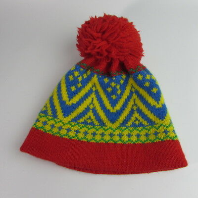 96f205db6b3 Vintage Andres Wool Pom Pom Winter Ski Beanie Knit Hat Colorful Red Yellow  Blue
