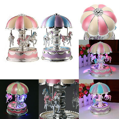 Merry-Go-Round LED Horse Carousel Music Box Kids Toy Musical Birthday Xmas Gifts