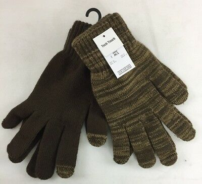 Attention Mens Set of 2 Stretchy Knit Gloves, Brown, M/L