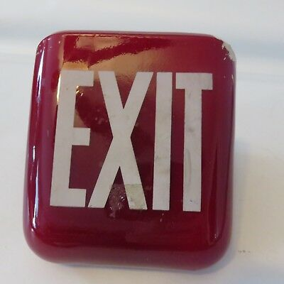 Vintage Art Deco Red Ruby Exit Sign Ceiling Lamp Light
