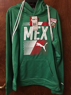 PUMA Big Boys Mexico Olympic Pullover Hoodie and Carry Sack (Green)