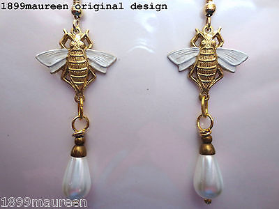 Art Nouveau bee pearl earrings Art Deco Victorian vintage style bridal white