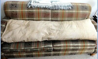 """OLD antique TICKING FEATHER MATTRESS/BENCH COVER-70x20"""""""