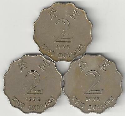 3 DIFFERENT 2 DOLLAR COINS from HONG KONG (1993, 1994 & 1995)