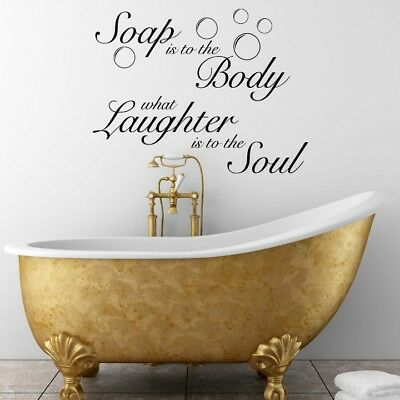 Bath Wall Stickers Soap Body Soul Relax Quote Art bathroom Removable Decals DIY