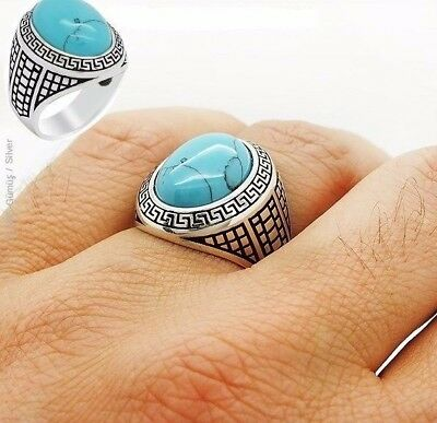 Turkish Handcraft 925 Sterling Silver  Jewelry Turquoise Men's Ring
