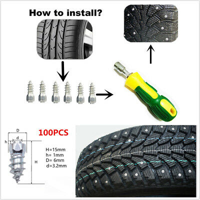 100x Car Wheel Tyres Ice Snow Spikes Chains Studs 15mm Screw in Tire+Sleeve Tool