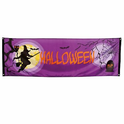Halloween House Party Banner Giant Material Flag Wall Door Hanging Witch Moon