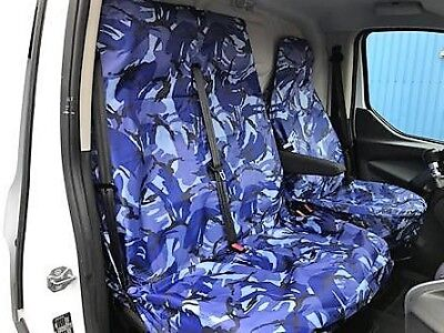 Renault Trafic 2016 Van Seat Covers Camouflage Dpm Camo Blue Heavy Duty 2-1