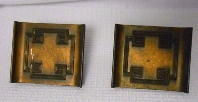 Dumont TV Cabinet Art Deco Mid Century Modern Brass Metal Door Handles Greek Key