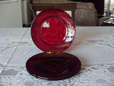 "Cristal D'arques Ruby Glass ""antique"" Salad Plates 8"" Across Set Of 3"