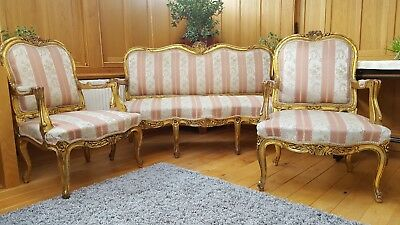 Antique French Gilt Three Seater Sofa with Two Armchairs