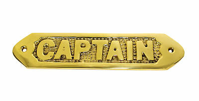 "Captain Plaque Solid Brass 6"" Wall Decor Nautical Tropical Home Decor Hanging"