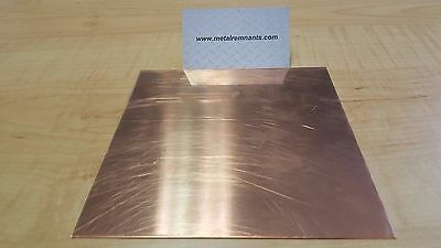 "18 ga Copper Sheet Metal Plate 6"" x 6"""