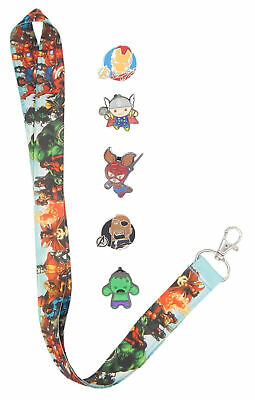 Marvel Avengers Themed Lanyard Starter Set with 5 Disney Trading Pins ~ NEW