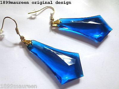 Art Deco Art Nouveau earrings 1920s vintage style blue geometric drops LARGE