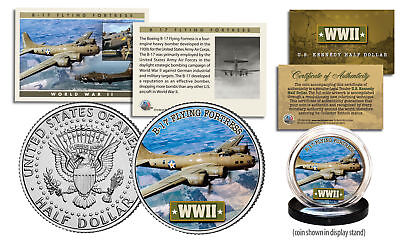 WWII * B-17 Flying Fortress Plane * JFK Half Dollar US Coin w/ Fact Trading Card