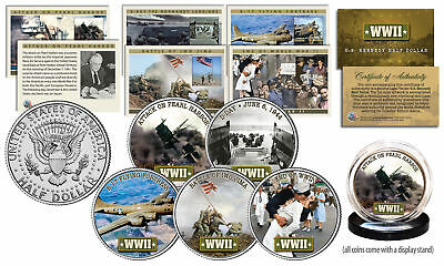 HISTORIC MOMENTS of WWII JFK Half Dollar 5-Coin Set with Matching Trading Cards