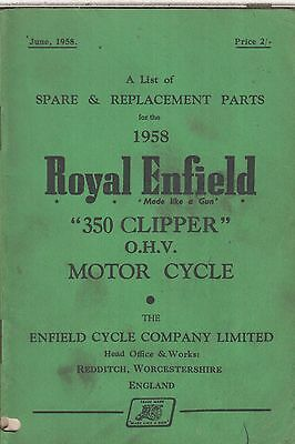 Royal Enfield 350 Clipper Original 1958 Factory Illustrated Parts Catalogue