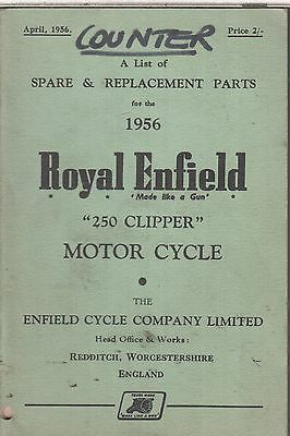 Royal Enfield 250 Clipper Original 1956 Factory Illustrated Parts Catalogue