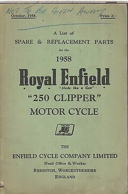Royal Enfield 250 Clipper Original 1958 Factory Illustrated Parts Catalogue