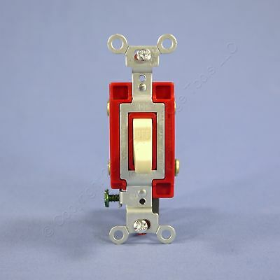 Hubbell Bryant Ivory DOUBLE POLE Commercial Toggle Wall Light Switch 20A CS1222I