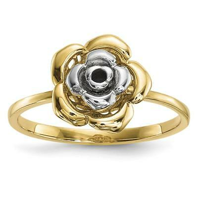 14k Two-tone Gold Polished Flower Ring Size 7 R636