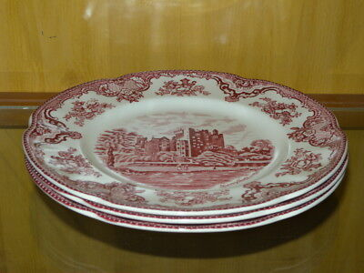 3  Johnson Brothers Old Britain Castles Dinner Plate Red  Blarney Castle