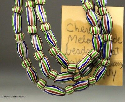 Antique Native American 4 Layer Melon Chevron Old Trade Beads Great Lakes Indian