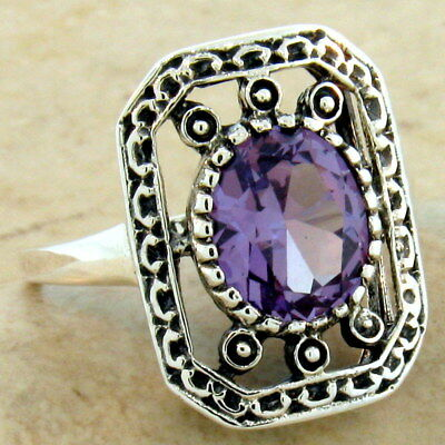 Victorian Color Changing Lab Alexandrite Antique Style 925 Silver Ring,    #1071