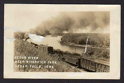 1948 Rppc Cedar Falls Iowa*Cedar River Near Riverview Park*Train*Railroad*