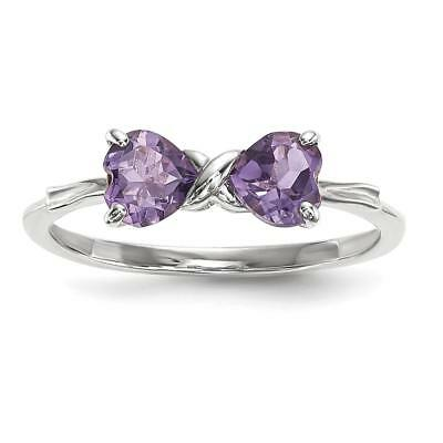 14k White Gold Polished Amethyst Bow Ring Size 7 XBS549
