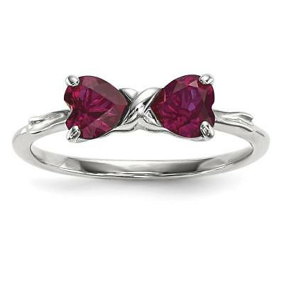 14k White Gold Polished Created Ruby Bow Ring Size 7 XBS558
