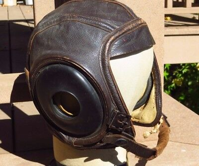 WW2 USN US Navy Leather Flight Helmet Skull Cap N288s - 21428 Slote - Klein