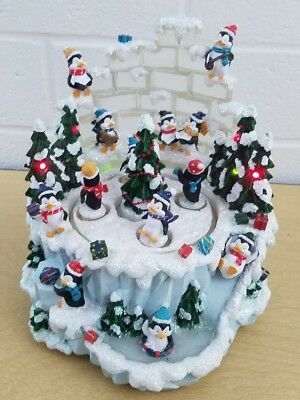 San Francisco Music Box Company Double Rotating Penguins With 8 Christmas Songs