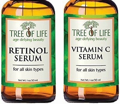 Tree of Life Beauty Organic Anti Aging Retinol & Vitamin C Serum Combo Set 1 Oz