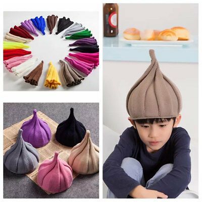 b97b35efebfc2e Funny Kids Knitted Pointy Beanie Hat Winter Boy Girl Twisted Crochet  Pointed Cap