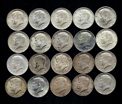 One Roll 1964 Kennedy Half Dollars 90% Silver (20 Coins)   Lot B94