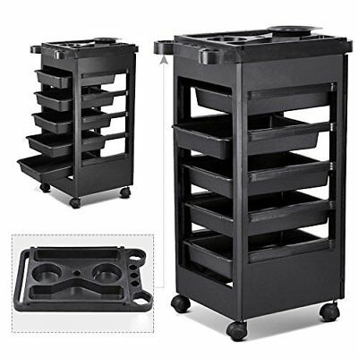 Trolley Storage Tray Cart With 5 Plastic Pull Out Drawers for Hair Salon & SPA's