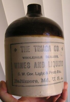 Stenciled Pottery Jug, The Triaca Co., Wines And Liquors, Baltimore, Md.